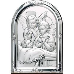 Strieborný obraz dvohc anjelov s dieťaťom D05.4589.71