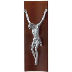 Striebonrý obraz ukrižovaný Ježiš na retro dreve D05.0179.71