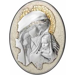 Strieobrný obraz materstvo na retro doske D05.5999.273W