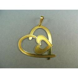 Zlatý prívesok dve srdiečka  VI202S
