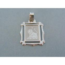 Zlatý prívesok platnička znamenie leva biele zlato VI171Bpe