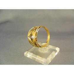 Zlatý dámsky prsteň vzorovaný žlté biele zlato VP62360V