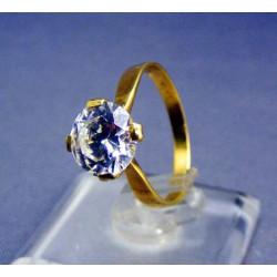 Zlatý dámsky prsteň so zirkónom v korunke žlté zlato VP53243Z