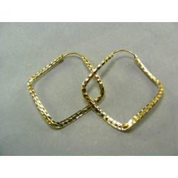 Zlaté náušnice žlté zlato tvar kosoštvorca DA227Z