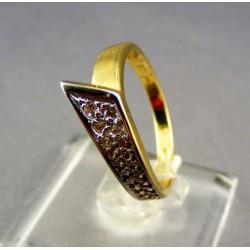 Zlatý dámsky prsteň v tvare špica viacfarebné zlato VP55281V