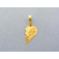 Zlatý prívesok pol vzorovaného srdiečka žlté zlato VI066Zmo 803ce5d1418