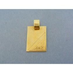 Zlatý prívesok vzorovaná platnička žlté zlato VI304Zfu d0b999eb376