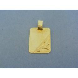 Zlatý prívesok vzorovaná platnička žlté zlato VI218Zšo f3fbf56aa20