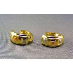 Zlaté náušnice trojfarebné malé štvorčeky VA216/1