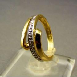 Zlatý prsteň s prepletenou vlnou viacfarebné zlato VP49267V
