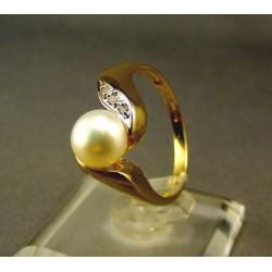 Zlatý prsteň s perlou kultivovanou žlté zlato DP58379Z