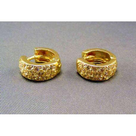 Zlaté náušnice malé kruhy s kamienkami