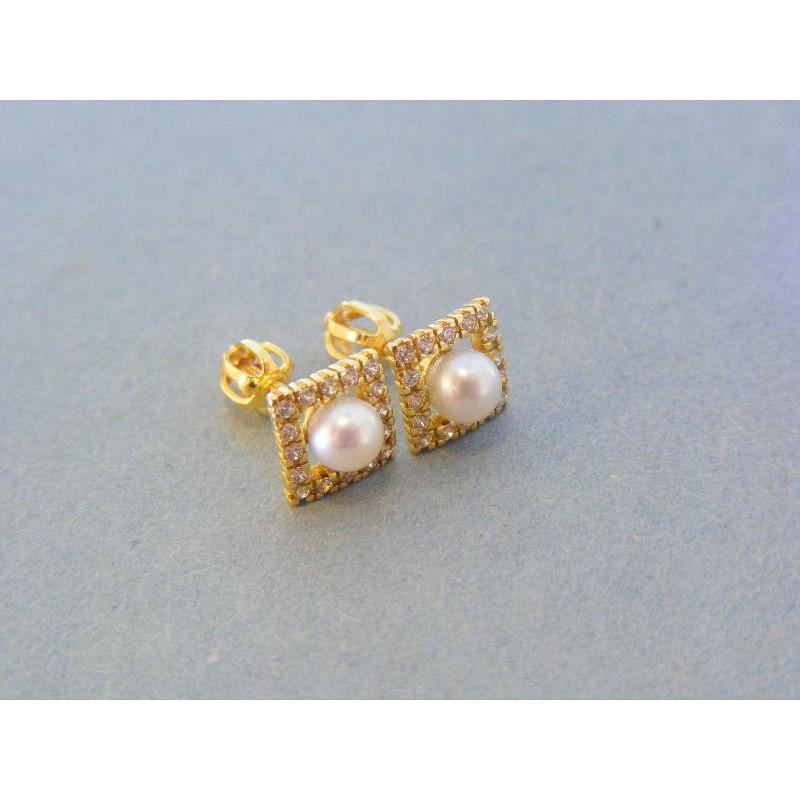 ddb9aa4fd Zlaté náušnice dámske šrubovačky žlté zlato perla kamienky VA197Z