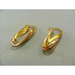 Zlaté náušnice viacfarebné zlato VA320V