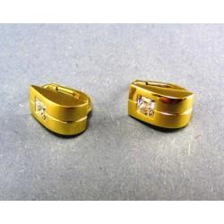 Zlaté náušnice s jemným zárezom a zaobleným kamienok VA280