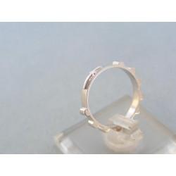 Zlatý prsteň ruženec biele zlato kamienky VP50214B