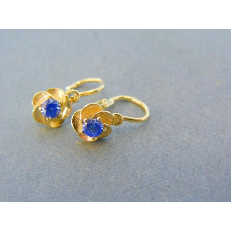7bf670933 Zlaté detské náušnice tvar kvet modry kamienok DA102Z