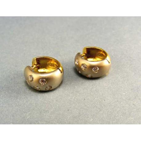 Zlaté náušnice dvojfarebné s kamienkami