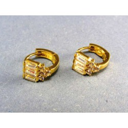 Zlaté náušnice žlté zlato tri podlhovasté zirkóny a okrúhle kamienky DA243/1
