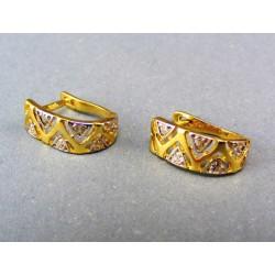 Zlaté náušnice dvojfarebné malé trojuholníky VA252