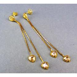 Zlaté náušnice elegantné visiace so srdiečkami VA282