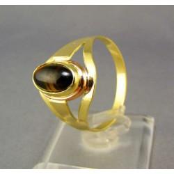 Zlatý prsteň s hnedým kameňom viacfarebné zlato VP67411V