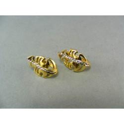 Zlaté náušnice viacfarebné zlato v tvare listu DA271V