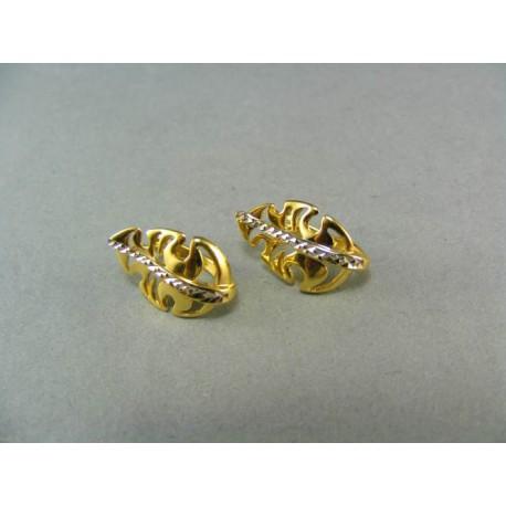 Zlaté náušnice viacfarebné zlato