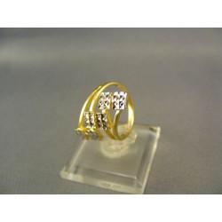 Zlatý prsteň dámsky z rôznym vzorom viacfarebné zlato VP50337V