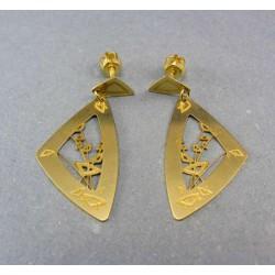 Zlaté náušnice visiace ozdobené VA268