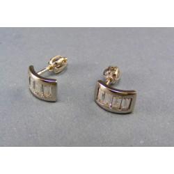 Zlaté náušnice v bielom zlate napichovačky kamienky VA209