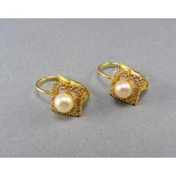 Zlaté náušnice s bielimi perličkami a kamienkami VA223