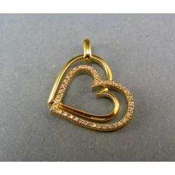 Zlatý prívesok s kamienkami srdiečko prepojené DI314S