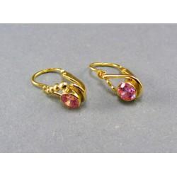 Zlaté dámske náušnice žlté zlato ružový kamienok VA143D