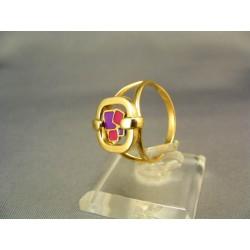 Zlatý dámsky prsteň s farebným skličkom VP57306Z