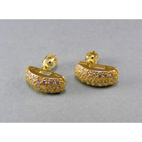 Náušnice s kamienkami v žltom zlate