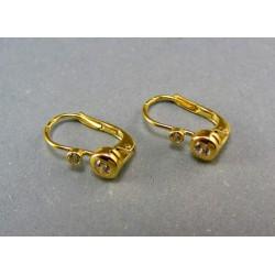 Zlaté náušnice zirkón žlté zlato DA146