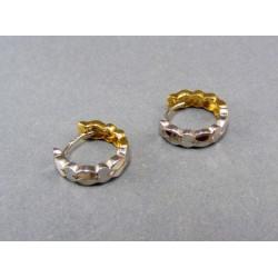 Zlaté náušnice obojstranné dvojfarebné VA208