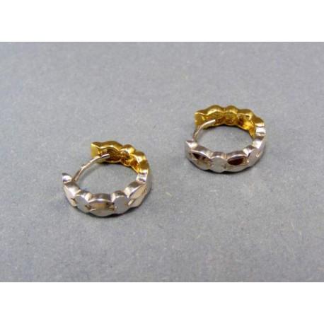 Zlaté náušnice obojstranné dvojfarebné