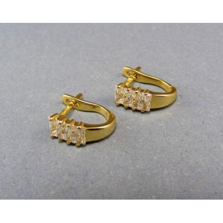 Zlaté náušnice s kamienkami žlté zlato