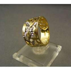 Zlatý prsteň dámsky vyrezávaný viacfarebné zlato VP57435V