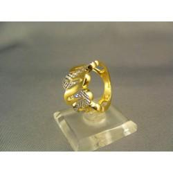 Zlatý dámsky prsteň moderný žlté biele zlato VP51492V
