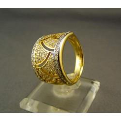 Zlatý dámsky prsteň s malými zirkónmi VP61673
