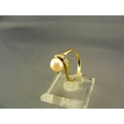 Zlatý dámsky prsteň s perlou žlté zlato DP54299Z