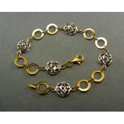 Zlatý náramok dvojfarebný kruhy s guličkami VN185391