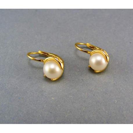 Zlaté náušnice žlté zlato s perlou