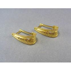 Zlaté náušnice žlté zlato kamienky VA585