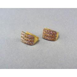 Zlaté náušnice s kamienkami dvojfarebné VA235/1
