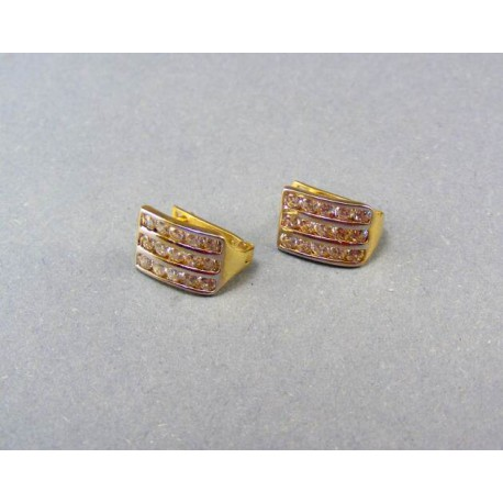 Zlaté náušnice s kamienkami dvojfarebné