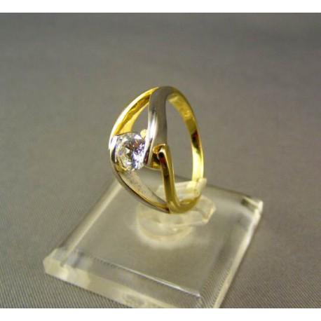 Zlatý dámsky prsteň viacfarebné zlato so zirkónom